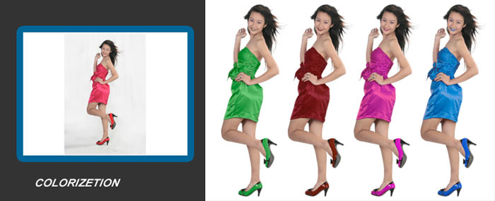 Color correction service using clipping path